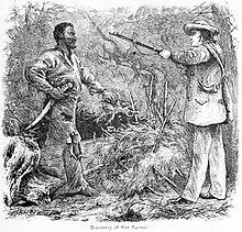 Een houtgravure van de vangst van Nat Turner