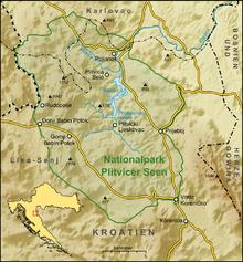 Kaart van het Nationaal Park Plitvice Meren