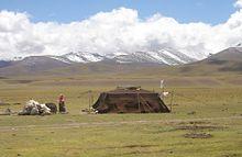 Pastorale Nomaden zelten in Tibet