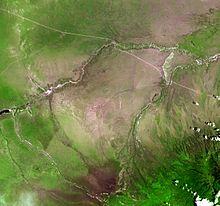 Olduvai Gorge vanuit de ruimte
