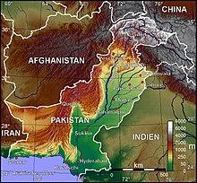 Dies ist eine Karte von Pakistan und Kaschmir, wie sie vom Weltraum aus gesehen wird.