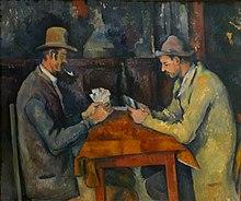 Obraz Paula Cézanne'a z 1895 roku przedstawiający grę w karty.