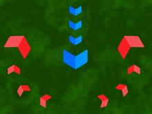 Hier voert de rode strijdkracht een tangbeweging uit om de oprukkende blauwe strijdkracht te omsingelen.