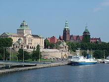 De Oder in Szczecin, Polen