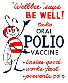 """Op deze poster uit 1963 staat de nationale gezondheidsmascotte van de CDC, de """"Wellbee"""", die mensen aanmoedigt een oraal poliovaccin te halen."""