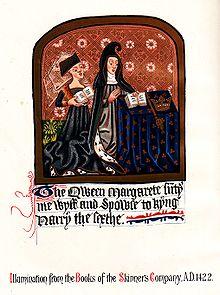 Margaret verschijnt in een toelichting in de Books of the Skinners Company, 1422. Het staat op de rol van de Broederschap van Onze-Lieve-Vrouw in 1475.
