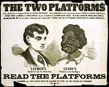 Een racistische poster voor de verkiezingen in Georgia, in 1866