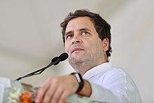 Rahul Gandhi die spreekt met een rally in Karnataka