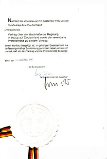 Ratificatie van het 2+4-verdrag door Duitsland