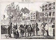 Politická karikatura o zrušení Stamp Act z roku 1766