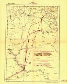 Linia w środku tej mapy to granica wyznaczona w 1920 roku oddzielająca Irak od Syrii.