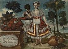 Portret van de leidende dame van Quito met zijn zwarte slaaf . Vicente Albán, 18e eeuw.