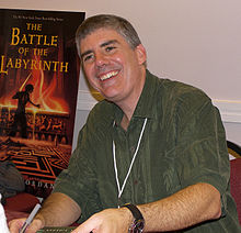 Rick Riordan, autor, na premierze The Battle of the Labyrinth