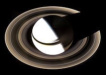 Saturnus, gezien vanaf het Cassini-ruimteschip in 2007
