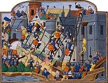 Die Belagerung von Konstantinopel wird in einem Manuskript aus dem 15. Jahrhundert dargestellt (Chronique de Charles VII)