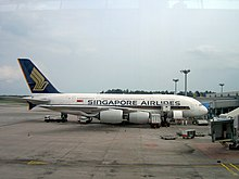 Singapore Airlines Airbus A380 op Singapore Changi Airport