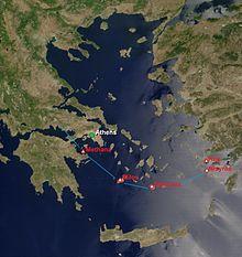De Zuid-Egeïsche Vulkaanboog omvat de vulkanen van Methana, Milos, Santorini en Nisyros.