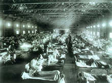 Militair hospitaal tijdens de Spaanse grieppandemie in 1918.