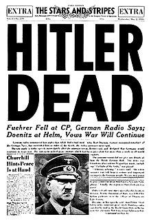 De omslag van de Amerikaanse krant The Stars and Stripes, op 2 mei 1945