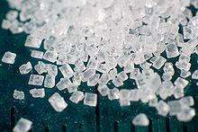 Vergroting van sacharosekorrels, de meest voorkomende suiker.