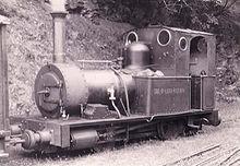 Locomotief nr. 2 Dolgoch in Abergynolwyn in 1951, in het begin van het conserveringstijdperk.