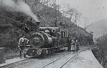Talyllyn aan de voet van de Alltwyllt helling. Dit is waar het Nant Gwernol-station vandaag de dag is. De foto is genomen in 1890.