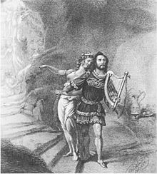 Première van de opera Tannhäuser van Richard Wagner op 19 oktober 1845, met Joseph Tichatschek als Tannhäuser en Wilhelmine Schröder-Devrient als Venus. Tekening door F. Tischbein (1845).