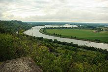 Samenvloeiing van de Tarn en de Garonne bij Boudou