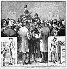 Melburne theeveiling, prent uit 1885. Toont ook het wegen en proeven van thee.