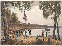 Kapitan Arthur Phillip podnosi brytyjską flagę w Sydney w 1788 roku.