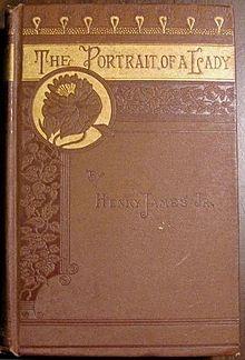 De versierde stoffen omslag van The Portrait of a Lady, door Henry James, uitgegeven door Houghton Mifflin in 1881. Een goed voorbeeld van Victoriaans gedecoreerd linnen. De band dient zowel om het boek te beschermen als om er reclame voor te maken.