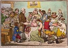 James Gillray, The Cow-Pock-or-the Wonderful Effects of the New Inoculation! (1802). Vaccinaties hielpen uiteindelijk de pokken uit de wereld te bannen.