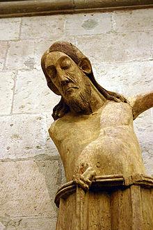 Разбитая статуя распятого Иисуса, от Германии около ОБЪЯВЛЕНИЯ 1000.