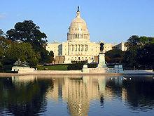 Die Westseite des Kapitols der Vereinigten Staaten, wo sich der Kongress der Vereinigten Staaten befindet