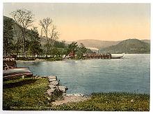 ウルズウォーター、ハウタウン桟橋の湖の汽船 1895年頃