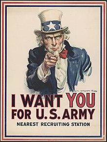 Een beroemde Uncle Sam, getekend door James Montgomery Flagg tijdens de Eerste Wereldoorlog.