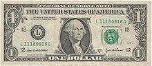 Фронт долларовой купюры