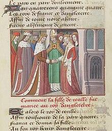 Het huwelijk van Hendrik VI en Margaretha van Anjou is in dit miniatuur afgebeeld uit een geïllustreerd manuscript van Vigilles de Charles VII van Martial d'Auvergne.