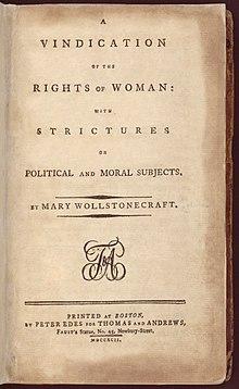 Titelpagina uit de eerste Amerikaanse editie van Rights of Woman