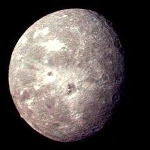 Beeld van Oberon, verkregen door Voyager 2 in 1986