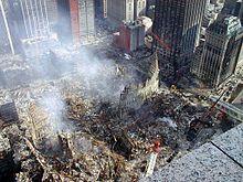 De overblijfselen van het World Trade Center na de aanslagen