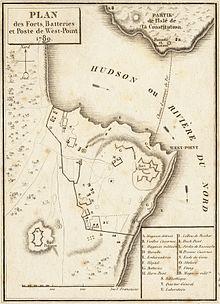 Francouzská mapa West Pointu z roku 1780