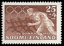 Tapio Wirkkala: Postzegel voor de Olympische Spelen van Helsinki, 1952. (lopend)