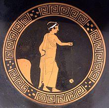 Niño jugando al yoyó de terracota, Attic kylix, ca. 440 BC, Antikensammlung Berlin (F 2549)
