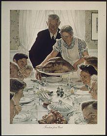 Vrijheid van gebrek aan schilder Norman Rockwell uit 1943