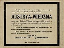 """1918年底在克拉科夫发表的奥地利帝国的幽默""""讣告""""。点击图片查看翻译。"""