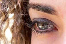 Subtiel maar briljant. Het grijs-zilver op de oogleden haalt het leisteenblauw van haar ogen naar boven. De buitenste licht oranje/bruine oogschaduw verbindt met de wenkbrauwen en het haar.