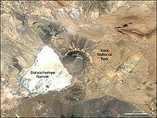 Landsat 7 beeld van Kavir Nationaal Park, Iran.