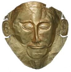 """Het dodenmasker bekend als het """"Masker van Agamemnon"""". Goud, gevonden in Graf V in Mycene door Heinrich Schliemann (1876), XVIe eeuw v. Chr. Nationaal Archeologisch Museum, Athene"""