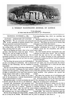 Eerste uitgave van Nature